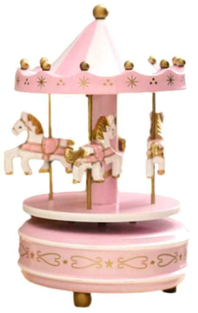 Wind up Musical Horses Carousel Music Box Merry-Go-Round Pink