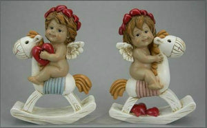 Pair of Guardian Angel Figurine Cherub on Rocking Horse Holding Heart Ornament