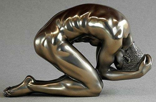 Bronze Nude Male Sculpture Man Pose Figurine Statue Ornament Figure