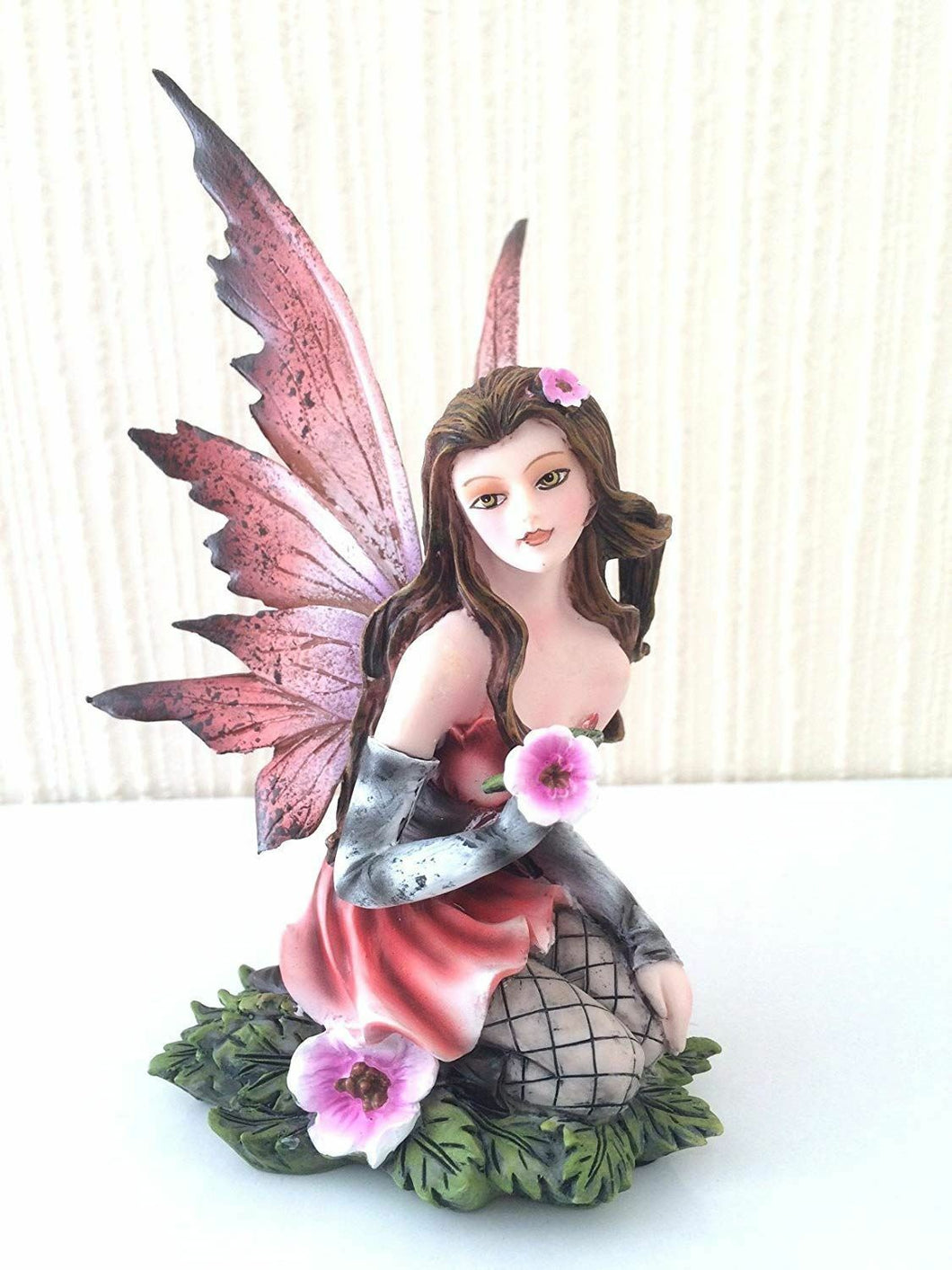Flower Fairy Holding Pink Flower Figurine Statue Ornament
