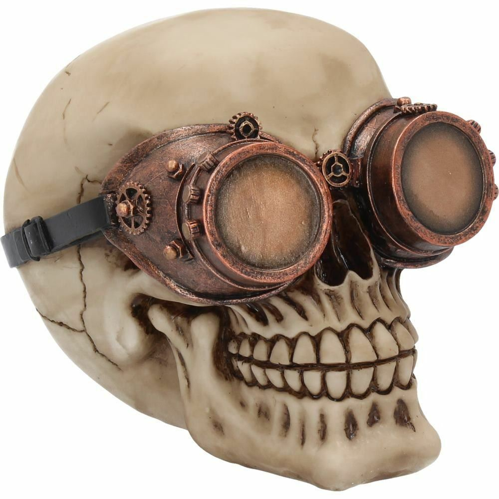 Steampunk Skull with Goggles Gothic Ornament Figurine Sculpture