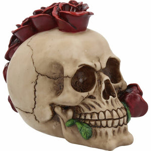 Skull with Rose Mohawk Gothic Ornament Figurine Sculpture