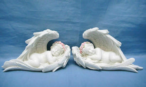 Pair of Guardian Angel Figurine Cherubs Resting in Wings Ornament Sculpture