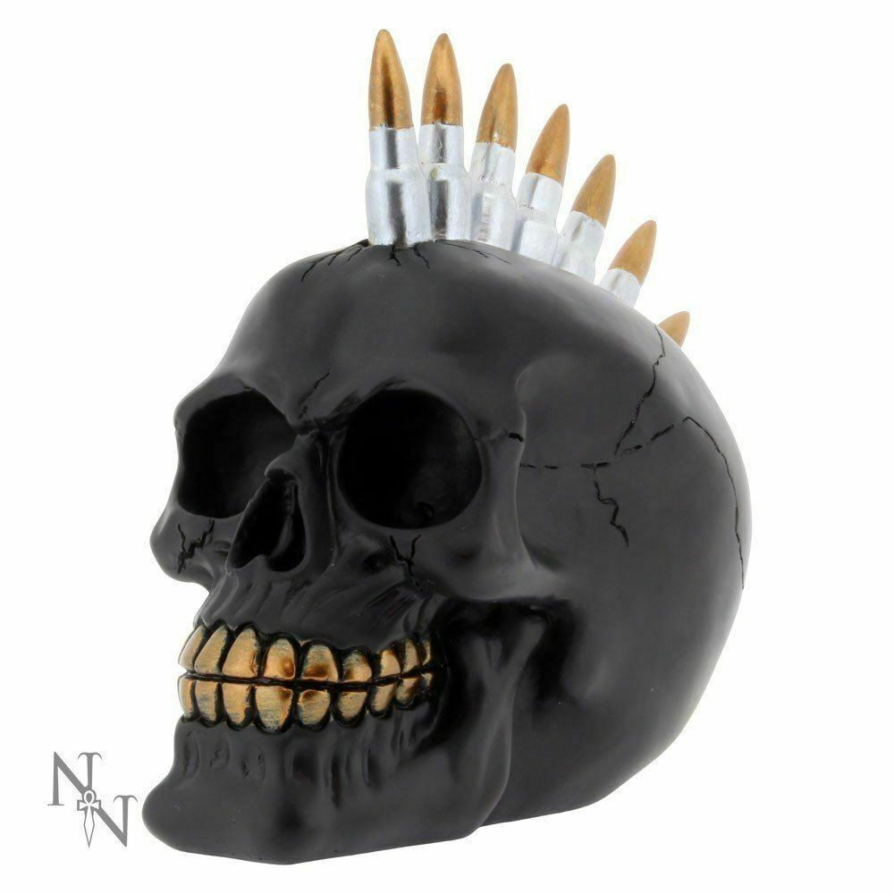 FABULOUS GOTHIC BLACK BULLET MOHAWK SKULL FIGURE ORNAMENT BRAND NEW & BOXED