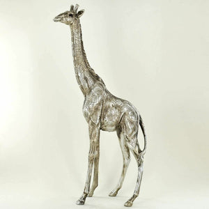 Giraffe Antique Silver Sculpture Beautiful Home Decor Ornament Statue Figurine