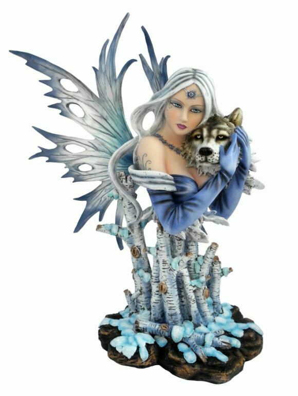 Large Winter Fairy and Wolf Companion Sculpture Statue Mythical Creatures Gift