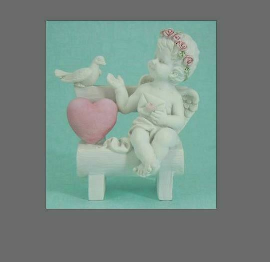 Guardian Angel Figurine Cherub with Dove Companion and Heart Ornament Sculpture