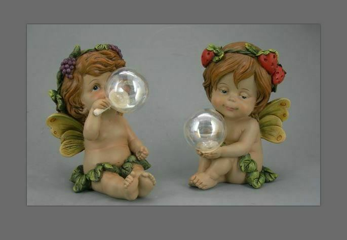 Pair of Guardian Angel Figurine Flower Fairies Statue Ornament Sculpture Gift