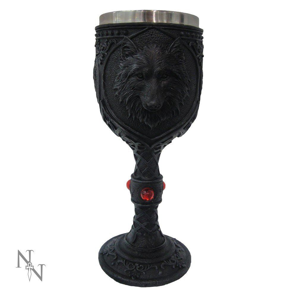 Black Wolf Face Wine Goblet Chalice Wiccan Pagan Ornament Altar Decor 19.5cm
