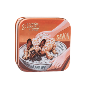 "100g Soap in Tin Box ""Chien Bulldog"" Pack of 3"