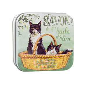 "100g Soap in Tin Box ""Chat Noir & Blanc"" Pack of 3"
