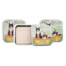 "Load image into Gallery viewer, 100g Soap in Tin Box ""Chat Noir & Blanc"" Pack of 3"