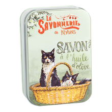 "Load image into Gallery viewer, 200g Soap in Tin Box ""Chats Noirs et Blanc"" Pack of 2"
