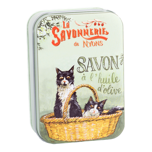 "200g Soap in Tin Box ""Chats Noirs et Blanc"" Pack of 2"