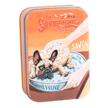 "Load image into Gallery viewer, 200g Soap in Tin Box ""Chien Bulldog"" Pack of 2"