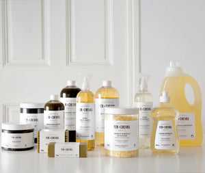 Collection of Fer à Cheval house cleaning solid and liquid soaps with Marseille soap.