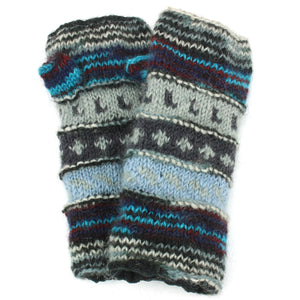Wool Knit Arm Warmer - Tik Tik - Blue