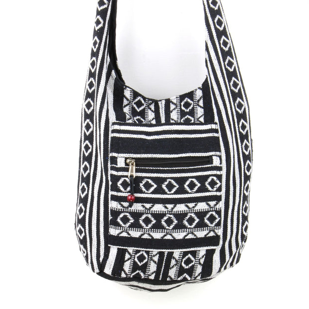 Diamond Pattern Canvas Sling Shoulder Bag - Black White