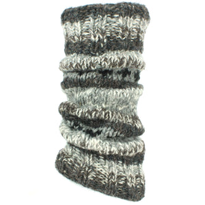 Chunky Wool Knit Abstract Pattern Leg Warmers - Grey