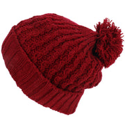 Cable Knit Bobble Beanie Hat - Red