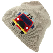Childrens Fine Knit Beanie Hat with Embroidered Fire Engine - Beige