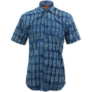 Tailored Fit Short Sleeve Shirt - Block Print - Fish