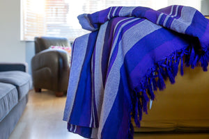 Striped Cotton Blanket With Tassel Edging - Iris