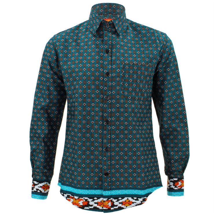 Tailored Fit Long Sleeve Shirt - Turquoise Abstract
