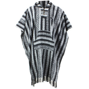 Brushed Cotton Long Hooded Poncho - Black White