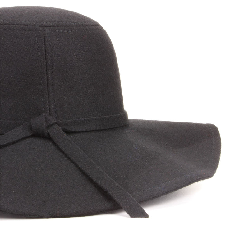 Wool felt wide brim floppy hat - Black (One Size)