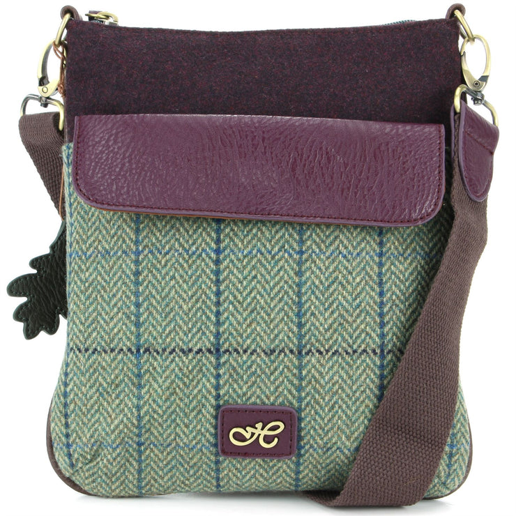 Tweed Cross Body Messenger Shoulder Bag Handbag - Green & Blue