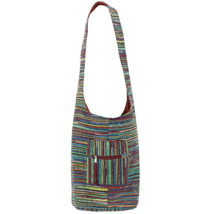 Striped Chenille Sling Shoulder Bag - Multi - Dark Red Lining