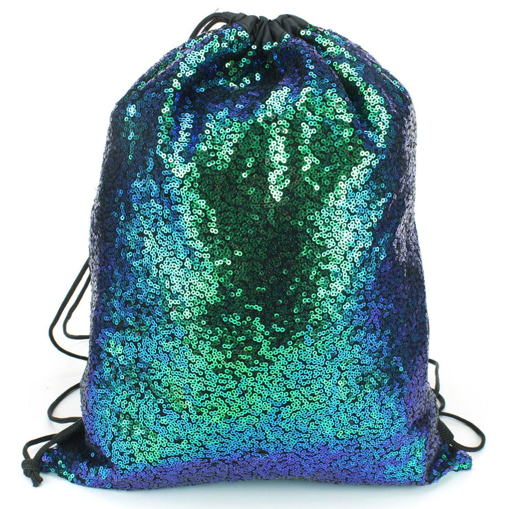 Sequin Drawstring Bag - Green