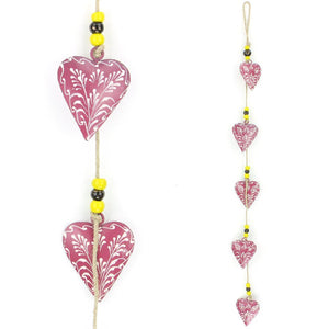 Hanging Mobile Decoration String of Hearts - Pink - Sand String