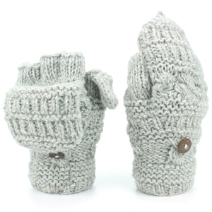 Chunky Wool Fingerless Shooter Gloves - Mixed Knits - Light Grey