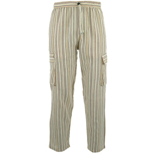 Cotton Combat Trousers Pant - Cream Stripe
