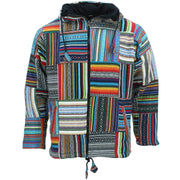 Fleece Lined Brushed Cotton Hooded Jacket Cardigan - Patchwork Non-Brushed