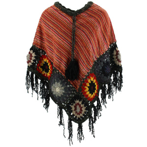Granny Squares Crochet Poncho Short - Orange/Dark