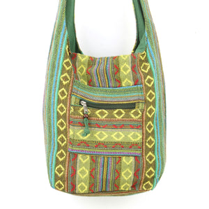 Diamond Pattern Canvas Sling Shoulder Bag - Green