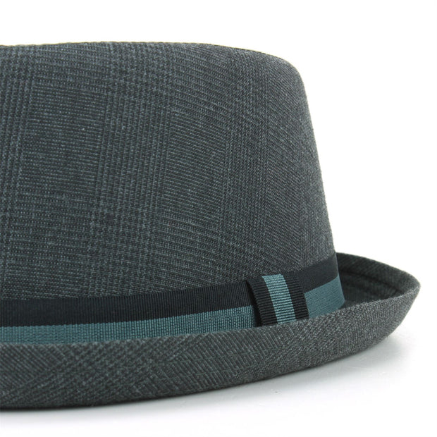 Tweed Porkpie Hat - Dark Grey