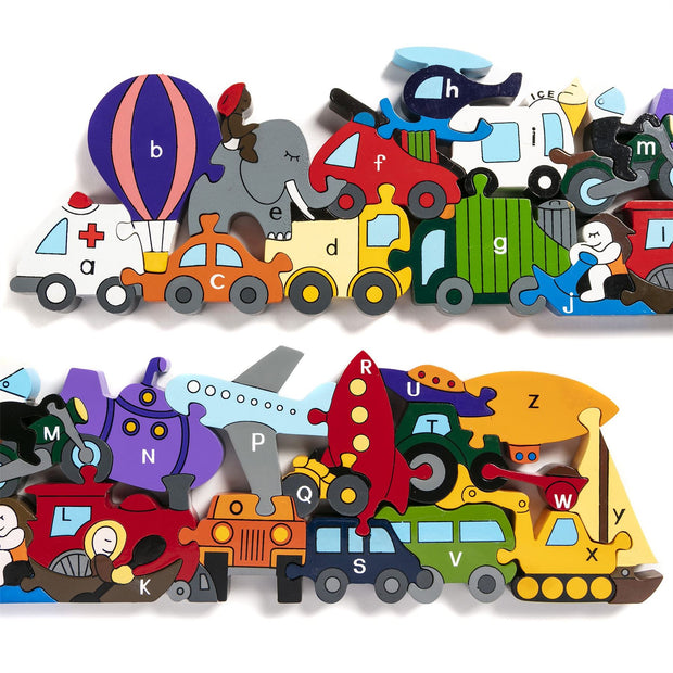 Handmade Wooden Jigsaw Puzzle - Alphabet Transport