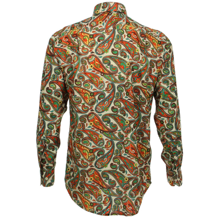 Regular Fit Long Sleeve Shirt - Green & Orange Paisley