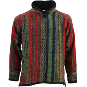Fleece Lined Brushed Cotton Jacket Cardigan - Red Green