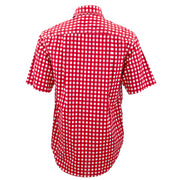 Regular Fit Short Sleeve Shirt - Gingham Check - Red