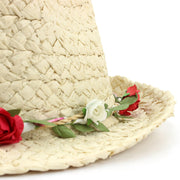 Straw Trilby Fedora Hat with Flower Garland Band
