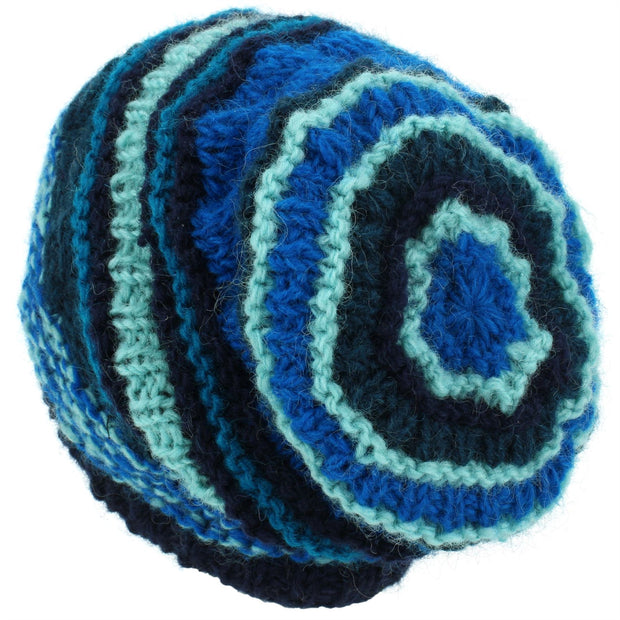 Wool Knit Beanie Hat - Stripe Blue
