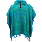 Hooded Square Poncho - Turquoise