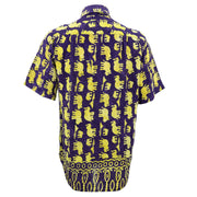 Regular Fit Short Sleeve Shirt - Herd of Elephants - Purple