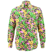 Tailored Fit Long Sleeve Shirt - Green Yellow & Pink Floral