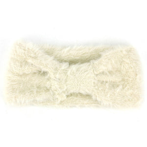 Bowknot Faux Fur Headband - Cream